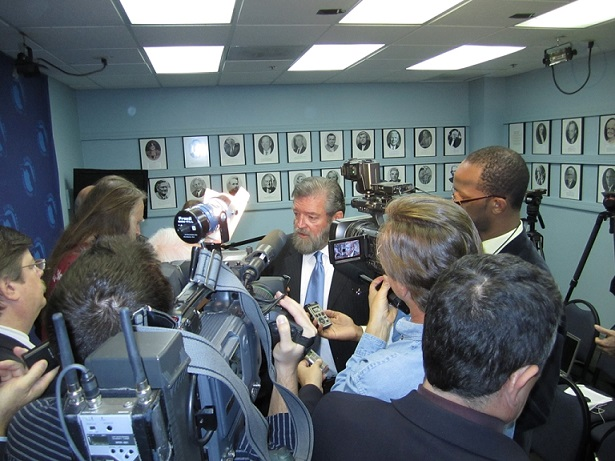 David Guest speaking to reporters after Tallahassee press conference 2 21 2012