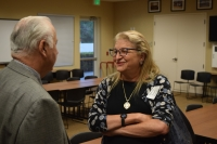 "Segalgeorge – Marsha Segal-George (right), the first Town Manager of Fort Myers Beach and former Lee County Manager, talking with Estero Mayor Nick Batos. ""Estero has, from the very beginning, wanted to invest in the important aspects of local government,"" Segal-George said. ""They're going to pick a great manager, and they deserve one."""
