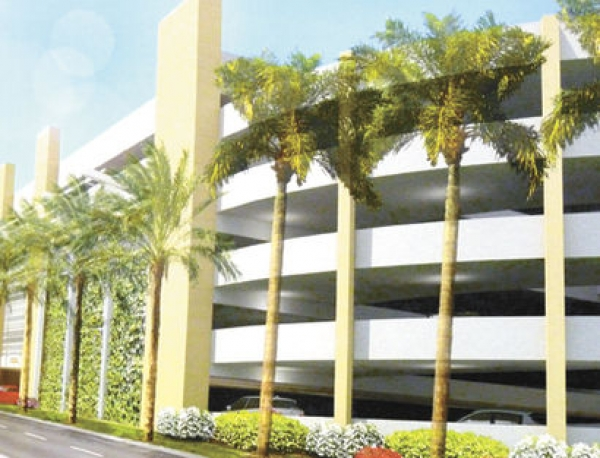 An artist's rendering of a proposed four-story parking garage.