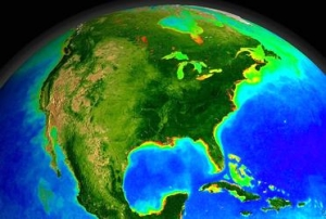 The dark blues in the oceans represent algae-free zones, the greens are highly productive regions. The red zones are areas where phytoplankton and algea have bloomed to harmful levels. (Image by SeaWIFS/NASA)