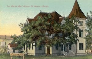 This old postcard depicts the Lee County Courthouse as it was originally built.