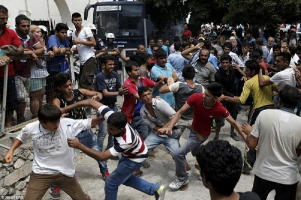 The real violence in the EU comes from the Muslim invaders who are angry that their demands for asylum and housing are not being met in a timely fashion.