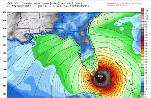 IRMA Track Staying Low: Headed for Florida East Coast? West Coast?