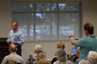 State Rep. Matt Caldwell stood before a crowd of Lee County residents as they expressed their concerns and disappointments over Amendment One's implementation