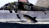 "Did we get your attention? While this image is a fake and was ""created by combining two real but unrelated photographs — a picture of a great white shark taken by South African photographer Charles Maxwell, and an Air Force photo of an HH-60G Pave Hawk helicopter from the 129th Rescue Wing, Moffett FAF,  snapped by Lance Cheung"", the shark attacks described in the following article and the places where they occurred are real."