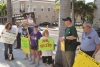 Sierra Club's John Scott (in green shirt) and others protesting SB 318 in downtown Fort Myers on the eve of its defeat.