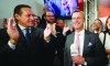 Austrian presidential canditate Norbert Hofer (R) of the right wing Freedom Party (FPO) and party head Heinz Christian Strache (left) celebrate anti-immagrant-protests-in-Austria