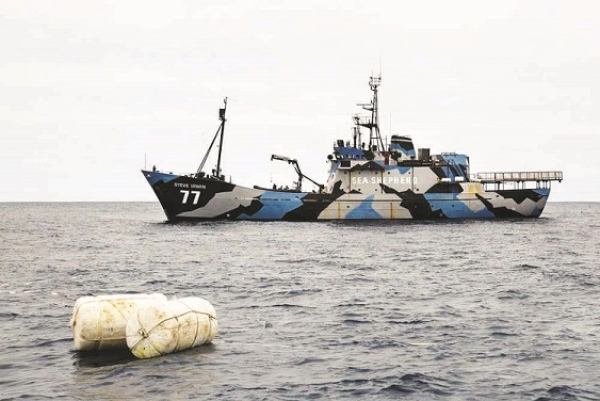 Sea Shepherd conservation vessel The Steve Irwin locates buoys marking illegal driftnets