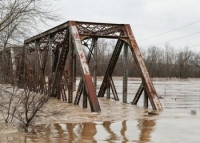 A flooded bridge near St. Louis, Missouri December 30, 2015