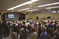 At Chapel By The Sea, the seats up front were claimed quickly as the crowd grew and continued out the front door.