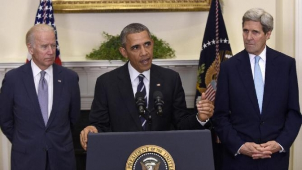 President Barack Obama, flanked by VP Joe Biden (left) and Secretary of State, John Kerry, announces his denial of a Presidential Permit for the TransCanada Keystone XL pipeline.