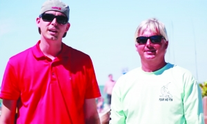 RJ Snider (L) of Lightmark Productions, Danny Martenson of  Fear No Fin Apparel and the Lani Kai Resort host the Second Annual Fort Myers Beach Spring Break Wave Challenge