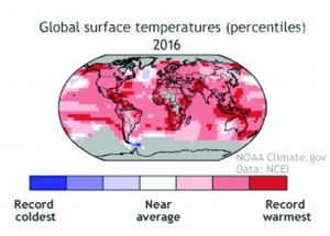 How unusual is 2016's record-temperature  and will the hot streak continue in 2017?