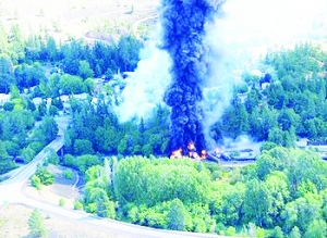 An oil train derailment near Mosier, Oregon, on the Columbia River caused a fire that closed down Interstate 84,